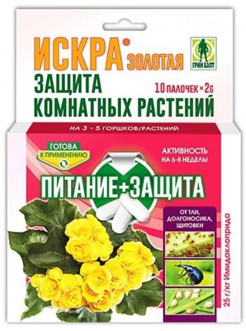 Искра Золотая палочки для защиты комнатных растений. 10 шт.